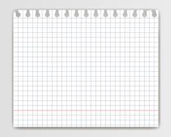 Foglio di quaderno a quadretti bianco con bordo strappato. Mockup o modello di pagina di blocco note a scacchi per il tuo testo.
