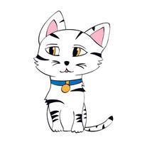 Illustrazione vettoriale di gattino carino. Contorno gatto in stile infantile per la stampa di t-shirt, cartoline, poster.