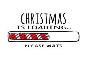 Barra di avanzamento con iscrizione - caricamento natalizio in stile abbozzato. Vector l'illustrazione di Natale per la progettazione di t-shirt, poster, auguri o carta di invito.