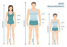 Vector l'illustrazione dell'uomo, delle donne e del ragazzo in integrale con le linee di misura dei parametri del corpo. Misure per uomo, donna e bambino. Misure e proporzioni del corpo umano. Design piatto.