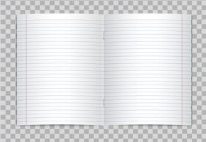 Il vettore ha aperto il quaderno allineato realistico della scuola elementare con i margini rossi su fondo trasparente. Mockup o modello di pagine aperte foderato vuoto di notebook o quaderno con graffette.