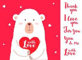 Vector l'illustrazione dell'orso sveglio del fumetto che tiene le frasi scritte cuore e della mano per i cartelli della carta dei biglietti di S. Valentino, le stampe della maglietta, cartoline d'auguri. Carta di San Valentino con diverse vari