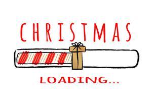 Indicatore di stato con scritta - caricamento natalizio.in stile impreciso. Vector l'illustrazione di Natale per la progettazione di t-shirt, poster, auguri o carta di invito.