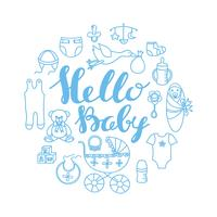 Saluto di celebrazione di bambino doccia e modello di carta di invito con scritte a mano Ciao bambino e contorno elementi di design del bambino.