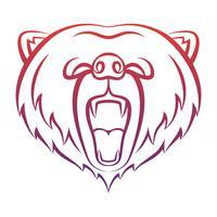 Icona di orso ruggente isolato su uno sfondo bianco. Orso modello di logo, disegno del tatuaggio, stampa t-shirt. Logo di contorno di animali selvatici.