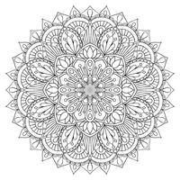 Elemento decorativo orientale per libro da colorare per adulti. Ornamento etnico Mandala contorno monocromatico, modello di terapia antistress. Simbolo di yoga