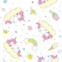 Modello di unicorno vettoriale senza soluzione di continuità per tessili per bambini, stampe, wallpapper, sccrapbooking. Doodle unicorno carino con elementi di doodle ripetendo sfondo.