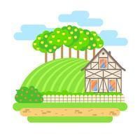 Illustrazione di paesaggio di vettore design piatto. Casa di paese con campi e meli. Agricoltura, agricoltura, concetto di prodotti biologici.