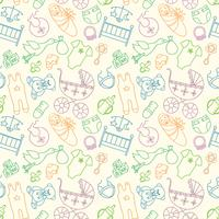 Vector seamless con elementi di bambino. I vestiti e gli accessori neonati che ripetono il fondo nello stile di scarabocchio per il tessuto, la carta da imballaggio, scrapbooking.