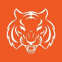 Icona della tigre isolato su uno sfondo bianco. Modello logo Tiger, disegno del tatuaggio, stampa t-shirt.