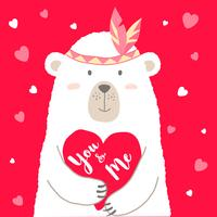 Vector l'illustrazione dell'orso sveglio del fumetto che tiene il cuore e la mano scritti segnando You & Me per la carta dei biglietti di S. Valentino, i cartelli, le stampe della maglietta, cartoline d'auguri. Saluto di San Valentino.