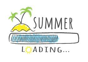 Barra di avanzamento con iscrizione - caricamento estivo e palme sulla spiaggia in stile abbozzato. Illustrazione vettoriale per design t-shirt, poster o carta.