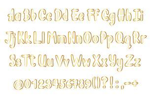 Alfabeto dorato in stile abbozzato. Vector lettere scritte a mano, numeri e segni di punteggiatura. Carattere calligrafico contornato d'oro.