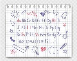 Alfabeto in stile abbozzato con scuola doodles sul foglio di quaderno. Vector lettere scritte a mano a matita, numeri e segni di punteggiatura. Fonte tipografica della penna dell'inchiostro ed elementi di progettazione di scarabocchio.