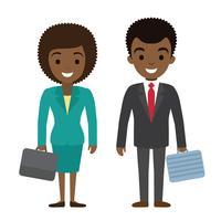 Vector l'illustrazione dei wi afroamericani dei caratteri della donna di affari e dell'uomo d'affari