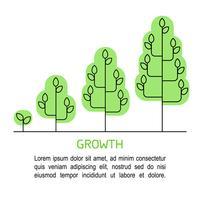 Infographics di processo crescente dell'albero. Icone di concetto di crescita linea arte.