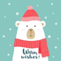 Illustrazione vettoriale di orso simpatico cartone animato in caldo cappello e sciarpa con scritte a mano scritta - auguri - per cartelli, stampe t-shirt, cartoline di auguri di Natale.