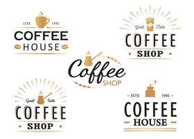 Set di modelli di logo caffè vintage, distintivi ed elementi di design. Collezione di loghi per caffetteria, bar, ristorante. Illustrazione vettoriale Hipster e stile retrò.