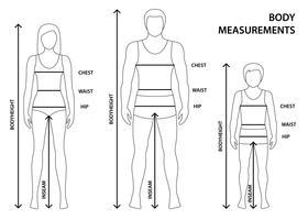 Illustrazione vettoriale di uomo sagomato, donne e ragazzo in piena lunghezza con linee di misurazione dei parametri del corpo. Misure per uomo, donna e bambino. Misure e proporzioni del corpo umano.