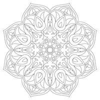 Mandala. Elementi decorativi etnici. Sfondo disegnato a mano. Islam, arabo, indiano, motivi ottomani. Simbolo di mandala monocromo. Mandala JPG. Mandala contorno nero. Mandala tradizionale Mandala di vettore
