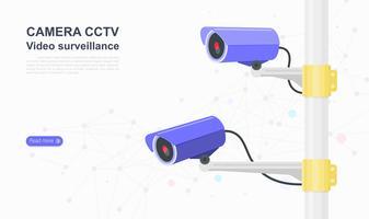 Telecamera cctv. video sorveglianza. modello di sito Web di progettazione grafica della pagina di destinazione. Illustrazione vettoriale