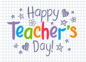 Cartolina d'auguri felice di giorno degli insegnanti sul foglio quadrato del quaderno nello stile impreciso con le stelle ed i cuori disegnati a mano.