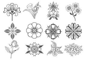 Pacchetto di elementi floreali di disegno vettoriale