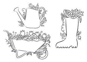 Contorni grunge di annaffiatoio, stivale e carriola con foglie e fiori. Raccolta di cartelli di giardinaggio contorno grunge. vettore