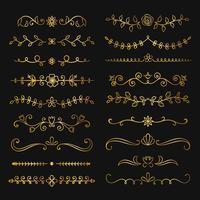 Collezione di divisori di testo fioriti disegnati a mano d'oro. Doodle bordi botanici oro per design tipografia, inviti, biglietti di auguri. Elementi di design calligrafici e floreali. vettore