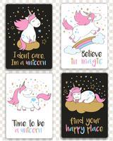Set di carte con unicorni in stile cartone animato e lettere di ispirazione. Biglietti d'auguri con citazioni motivazionali.