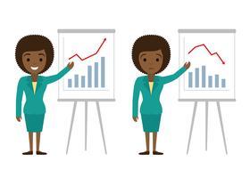 Vector l'illustrazione della donna di affari afroamericana che mostra i grafici. Successo finanziario, concetti di illustrazione piatta perdita finanziaria. Concetti di design piatto per banner web, siti web, infografica.