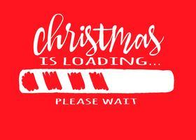 Indicatore di stato con iscrizione - caricamento di Natale in stile impreciso su sfondo rosso. Vector l'illustrazione di Natale per la progettazione di t-shirt, poster, auguri o carta di invito.