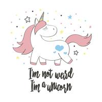 Magico unicorno carino in stile cartoon. Doodle unicorno per carte, poster, stampe per t-shirt, design tessile