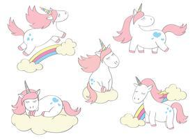 Magici unicorni carini impostati in stile cartoon. Doodle unicorni per carte, poster, stampe per t-shirt, design tessile vettore