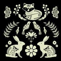 Arte popolare scandinava con volpe, imitazione di impronta nordica vettore