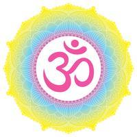 Ornamento di mandala con il simbolo Om Aum. Elementi decorativi d'epoca vettore
