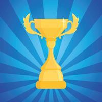 Illustrazione vettoriale di premio trofeo. Coppa del vincitore su uno sfondo a strisce blu con luce.