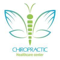 Logo della clinica chiropratica con farfalla, simbolo della mano e della colonna vertebrale. vettore