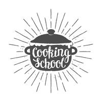 Pot silhoutte con lettering - Scuola di cucina - e raggi del sole vintage. Ottimo per cucinare logotipi, bades o poster. vettore