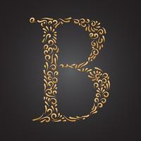 Floral Ornamental Golden Letter B