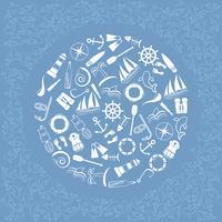 Elementi nautici in cerchio. vettore