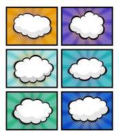 set di fumetti, pop art con nuvoletta vuota vettore