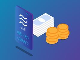 smartphone mobile con moneta della bilancia vettore