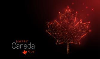 Modello di felice giorno del Canada. Foglia di acero basso poli. vettore