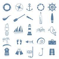 set di icone di arte linea oceano vettore