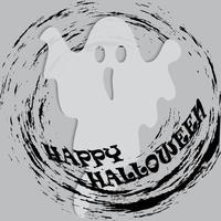 eps. Fantasma di festa di Halloween in foglio bianco su sfondo trasparente. Illustrazione vettoriale