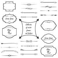 Elementi di design calligrafico. Divisori, cornici di diverse forme. Vettore