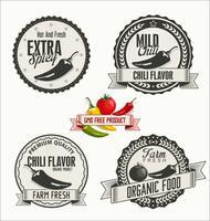 Set di distintivi di verdure bio e bio in stile vintage vettore