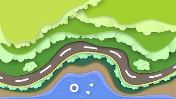 Vista dall'alto della scena naturale della foresta con mare e spiaggia. Paesaggio di sfondo per la giornata mondiale dell'ambiente il 5 giugno. Illustratore di vettore in carta tagliata, artigianato, origami.