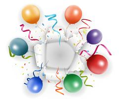 Disegno di compleanno con palloncino e coriandoli vettore